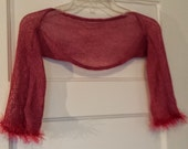 Short Sleeve Ballet Shrug Rose Pink with Sparkles and Fuzzy Pink trim size Medium
