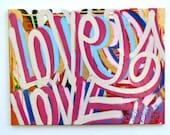 FREE SHIPPING Original love gold canvas colorful street art graffiti positive vivid abstract word writing modern art contemporary urban pop