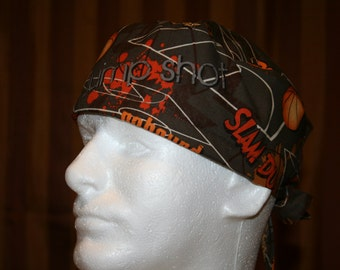 SALE--Men's Tie Back OR Scrub Hat with SWEAT Band/Mens Scrub hat/Scrub caps--Slam Dunk