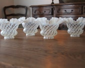 Fenton Spiral Optic Opalescent Ruffled Glass Shades, Minty Set of 4