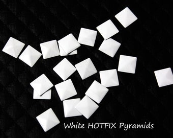 100 White Iron On Pyramids Square Studs Rivets, Hot Fix White Pyramids Studs