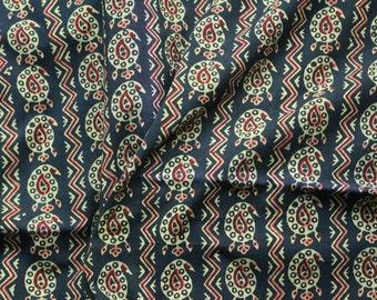 Black Block print / Paisley Design / Yardage/ Cotton
