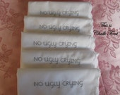 Embroidered Wedding Hankies for Bridesmaids Gift. Personalized SINGLE Handkerchief No Ugly Crying