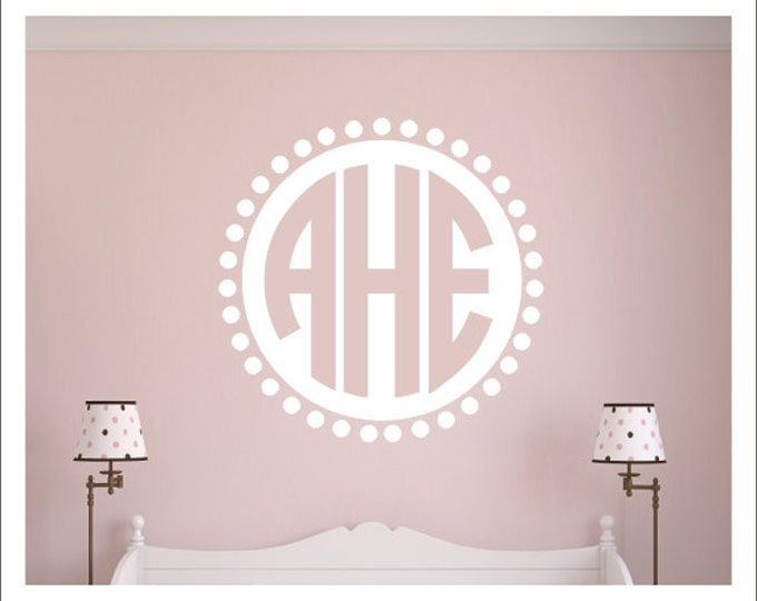 Monogram Wall Decal Vinyl Wall Decal Wall Monogram Circle Monogram with Polka Dot Border Boy Girl Nursery Decal Bedroom Decal Housewares