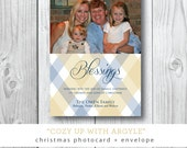 Cozy up with Argyle | Christmas Holiday Photocard | Printed with Envelope or Printable File by Darby Cards