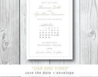 Oak and Vines Collection | Save the Date with Calender  | Printed or Printable by Darby Cards