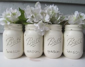 Painted and Distressed Ball Mason Jars-Cream/White/Ivory-Set of 4-Flower Vases, Rustic Wedding, Centerpieces