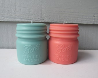 BALL MASON JAR Candles- Coral and Light Turquoise- Small Pillar Candles-Set of 2- Rustic Wedding, Baby Shower, Bridal Shower, Favors
