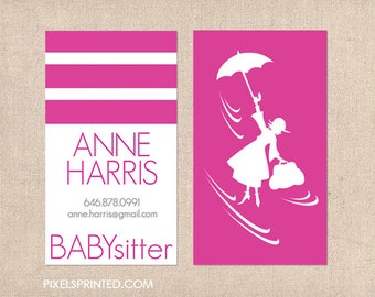 babysitter business cards - thick, color both sides - FREE UPS ground shipping