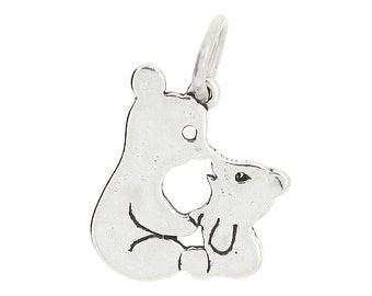 Sterling Silver Kissing Bears Charm (Flat One Side Charm)