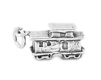 Sterling Silver Train Caboose Charm (3d Charm)