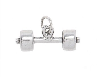 Sterling Silver Dumbbell Barbell Charm (3d Charm)