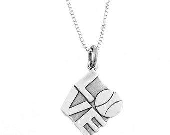 Sterling Silver Tennis Love Necklace (Flat Charm)