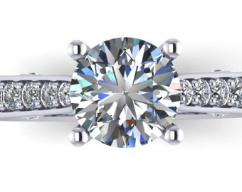 Moissanite Engagement ring with diamonds in 14k white gold ,style 107WDM