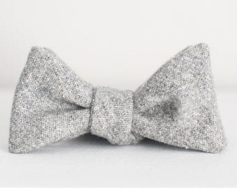 Salt & Pepper Wool Bow Tie