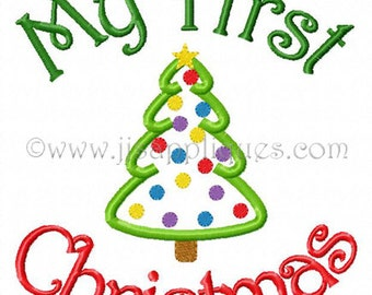 Instant Download - Christmas Embroidery Designs - My First Christmas with Decorated Tree Embroidery Applique Design 4x4, 5x7, 6x10 hoops