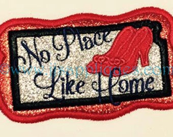 Embroidery Applique - No Place Like Home - Kansas State - Embroidery Saying and Applique Design 4x4 and 5x7 hoop sizes - Instant Download