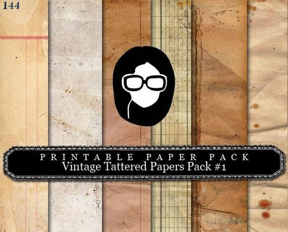 """8.5x11 Vintage Digital Printable Scrapbook Paper- """"Vintage Tattered Paper Pack #1"""" - (6PGS)  INSTANT DOWNLOAD"""