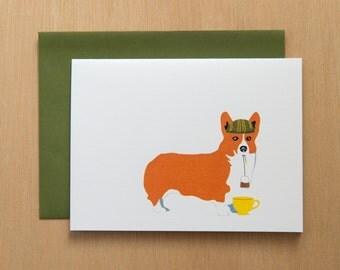 Corgi Drinking tea - Set of 8 Cards