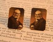 Walt Whitman earrings post earrings surgical steel post literature earrings mixed media jewelry