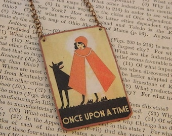 Red Riding Hood necklace Once Upon a Time Fairy tales mixed media jewelry