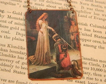 Art necklace art Accolade Edmund Blair Leighton mixed media jewelry