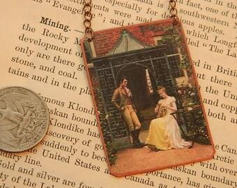 Art necklace art On the Threshhold  Edmund Blair Leighton mixed media jewelry