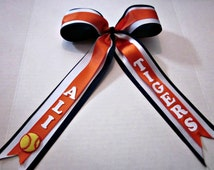 Custom Cheer Bow,Softball Cheer Bow, Orange Navy White Cheer Bow, Personalized Cheer Bow, Bows, Hair Clips, By Sweetpeas Bows & More