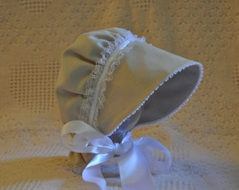 Cream Corduroy Bonnet with White accents