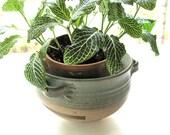 Ceramic planter with drainage, handmade pot, wheel thrown, celedon green glaze, hanging pot