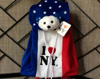 Plush teddy bear stars and stripes backpack purse