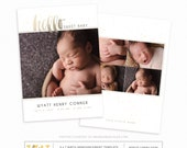 Birth Announcement Template - Photographer Template - Hello Faux Gold Baby Boy or Girl Announcement SKU BA103