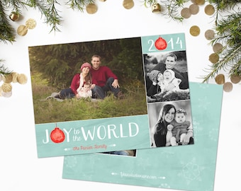 Holiday Card Template - Watercolor Joy to the World - Holiday Photo Card -  Instant Download - Sku HC024