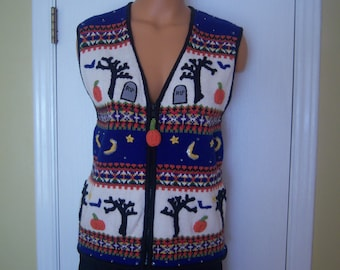 Ladies Vintage Halloween Sweater Vest, Belle Pointe, Knitted Vest, Size Medium, Autumn Colors Outer Wear, Casual Wear, Gift Item
