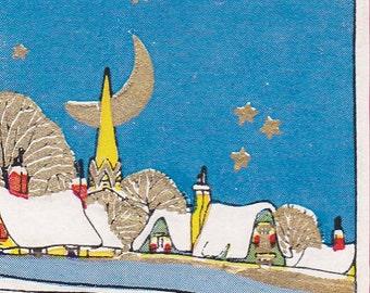 "Ca. 1933 ""Snow Scene and Motto"" Christmas Greetings Postcard - 1601"