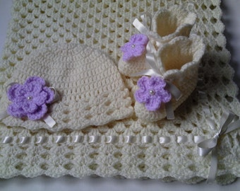 Crochet Baby Blanket, Hat and  Booties Set, ivory, lilac