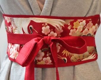 LUXE Ruby red Dupioni silk -  Cranes and cherry blossoms red Obi belt  - Figure slimmer - Waist cincher