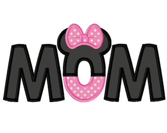 Miss Mouse Mom Applique Embroidery Design 4x4 5x7 6x10 Parents Dad INSTANT DOWNLOAD