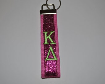 Kappa Delta Sorority Keychain-Hot Pink Glitter Ribbon Hot Pink Webbing with Lime Monogramming KeyFob Wristlet (OFFICIAL LICENSED PRODUCT)