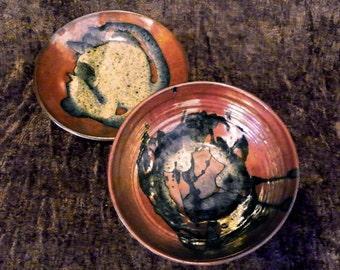 Pottery Serving Bowl & Platter Set Russet and Black Drip Glaze Gorgeous!