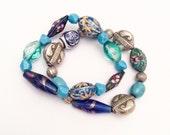 Blue Bead Stretch Bracelets, Retro Vintage Jewelry, WINTER SALE