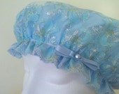 Waterproof Shower Cap Rain Bonnet Wedding Soft Blue Sparkle Lace Flowers Handmade Bow Small Medium Large Size Travel Hair Cap Bridal Gift
