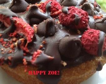 Vegan Gluten free Vanilla chocolate chips and raspberry donuts,  love,healthy,gluten free ingredients,dessert,wedding,birthday.