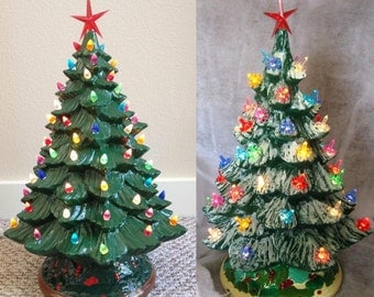 """DIY 20"""" Tall w/ Base Christmas Tree Kit 14"""" Ready to Paint Tree Unpainted Ceramic Bisque Paint your own Tree w/ Base Bulbs Star & Light Kit"""
