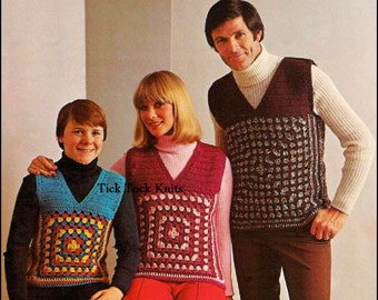 No.232 Crochet Pattern For Men, Women & Children - A Family Of Granny Square Vests - PDF Vintage Crochet Pattern - Instant Download