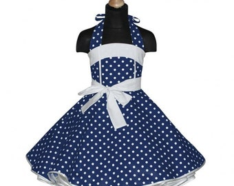 Girls 50's dress for petticoat custom made in dark blue navy with white polka dots