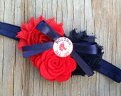 Boston Red Sox Shabby Chiffon Navy Blue & Red Flower Headband Or Hair Clip Photo Prop Bow Newborn Girls Baby Felt Rose HEART