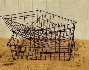 Antique Wire  Baskets, Rustic Wire Baskets, Storage Baskets, Industrial Storage, Industrial Baskets Vintage Wire Basket Vintage Metal Basket