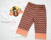 Boy Thanksgiving Fall Turkey Tom Infant Bodysuit One Piece, Child, Toddler Shirt Outfit with Brown Chevron and Orange Polka Dot Pants