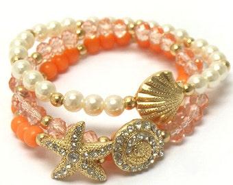 Nautical set of 3  Starfish Seashell Cochshell Crystal faux Pearl bracelets